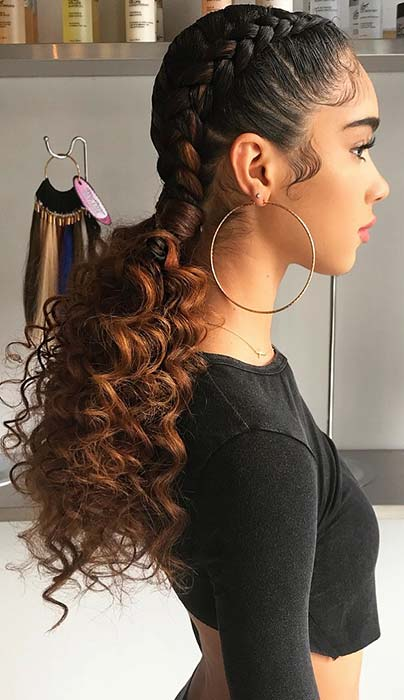 Two Braids with Curly Weave