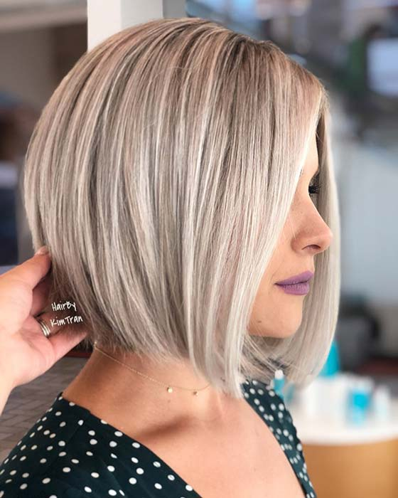 Medium, Sleek Blonde Bob Haircut