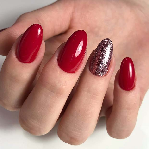 Bright Red Nails with Glitter