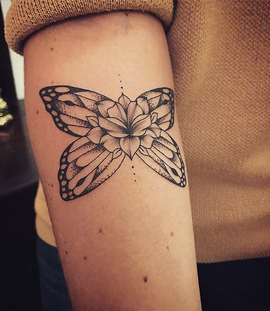 Butterfly Wings and Flower Tattoo Design