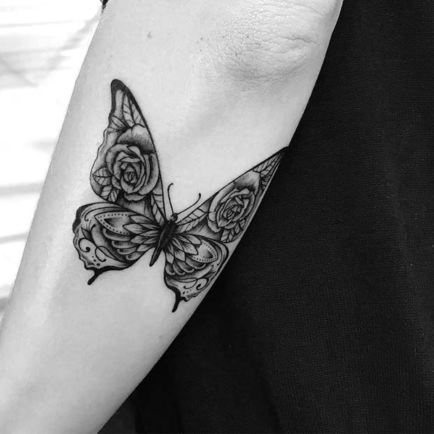 Butterfly Tattoo with Rose Wings
