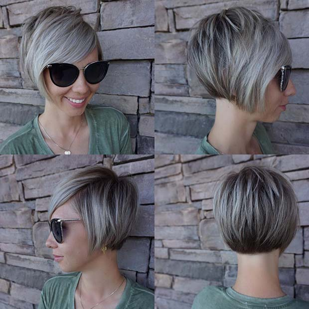 Short Blonde Stacked Bob with Bangs