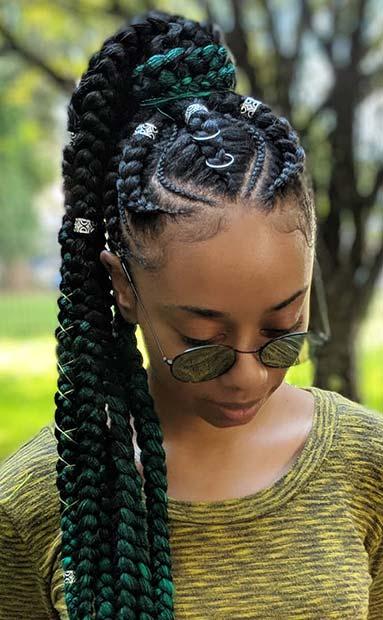 Cool Green Ghana Braids