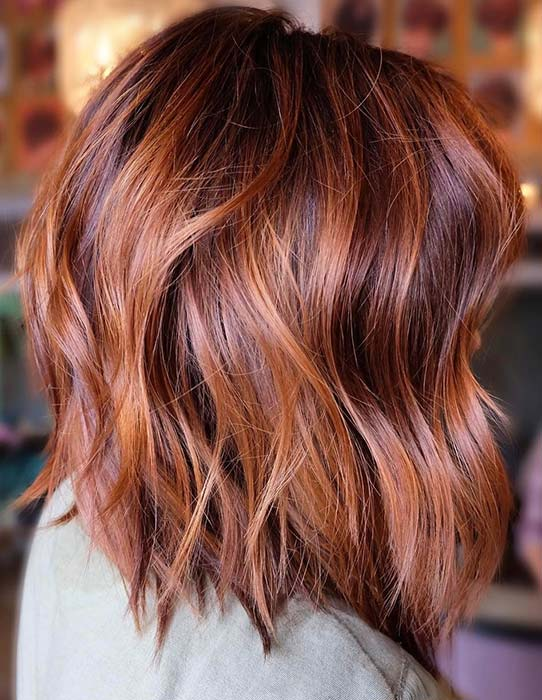 Layered, Coppery Red Bob