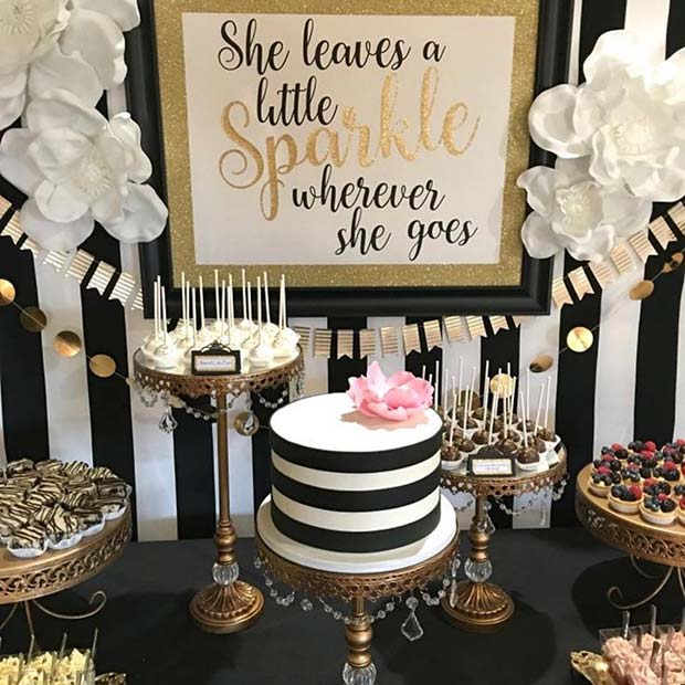 Black, White and Gold Decor Idea for a Graduation Party