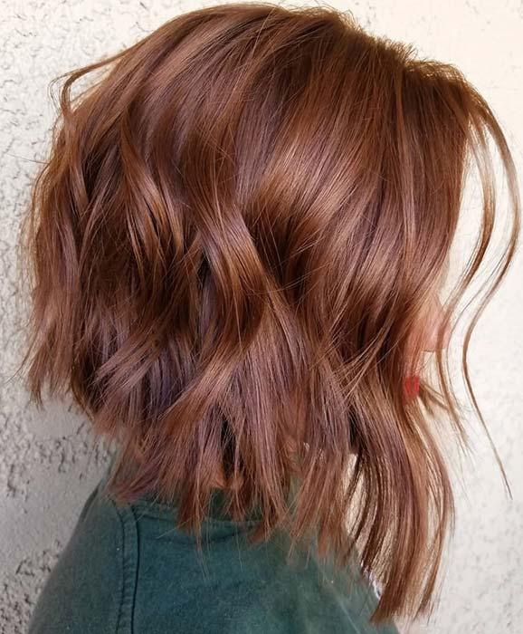 Cute Layered Red Lob Haircut
