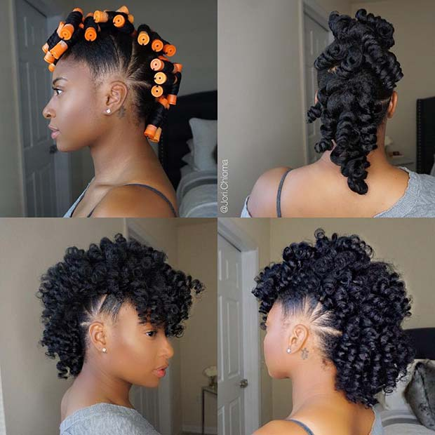 Curly Fro Hawk on Natural Hair