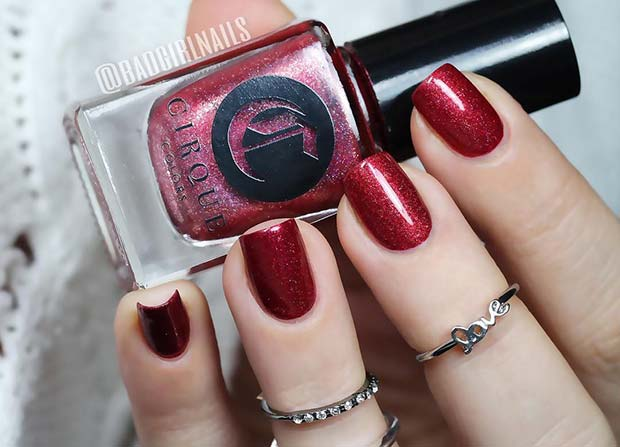 Dark Red Glitter Nails