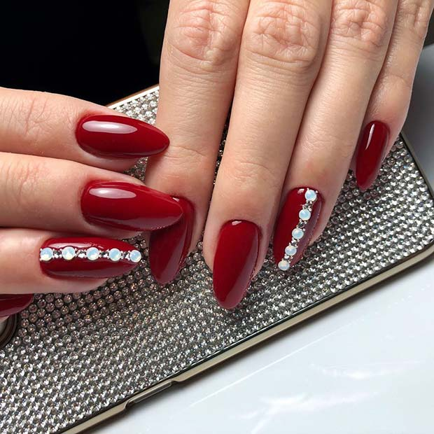 Dark Red Nails with Gems