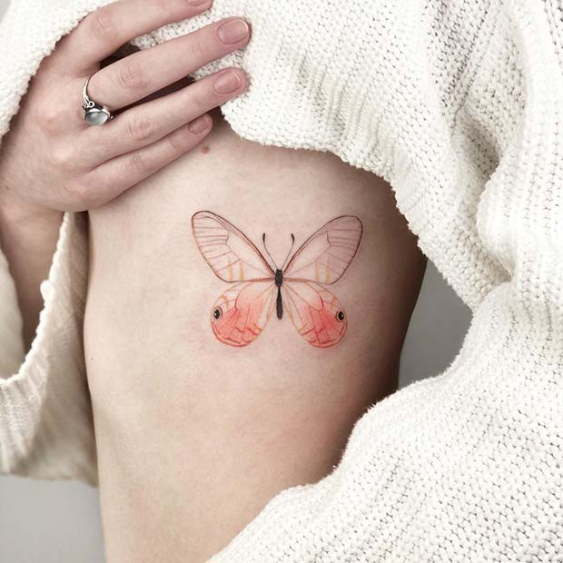 Delicate and Colorful Butterfly Tattoo