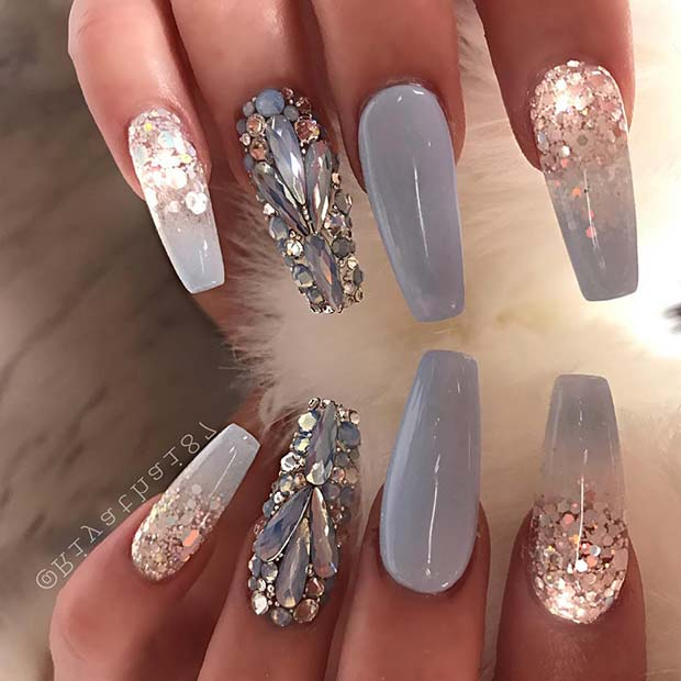 Elegant Crystal and Glitter Grey Coffin Nails