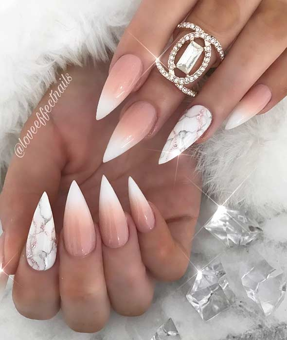 Elegant French Ombre Stiletto Nails