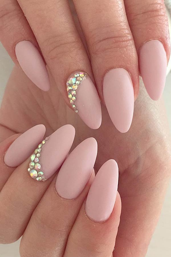 Elegant Matte Nail Idea for Almond Nails