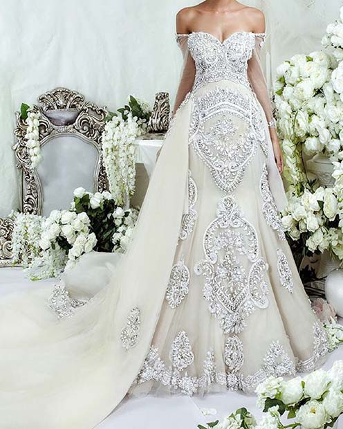 Ivory Wedding Dress with Silver Details