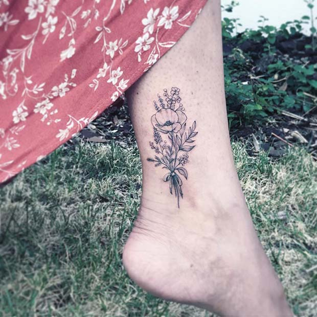 Pretty, Floral Ankle Tattoo Idea