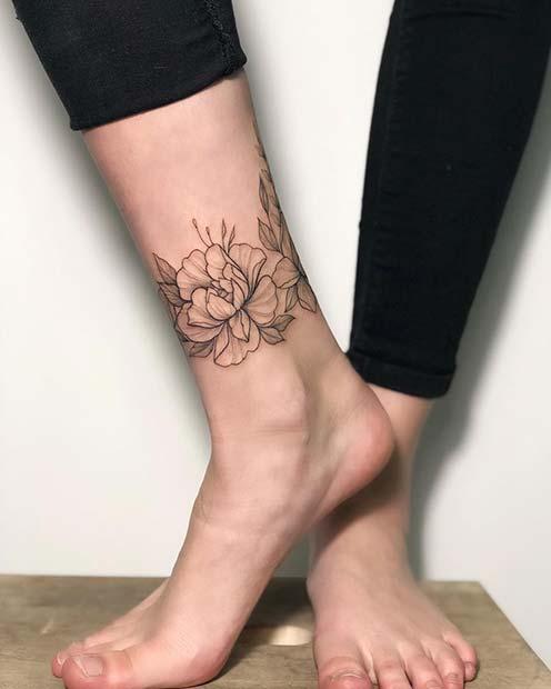 Floral Ankle Bracelet Tattoo