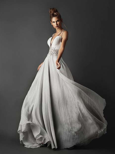Glam, Silver Wedding Gown