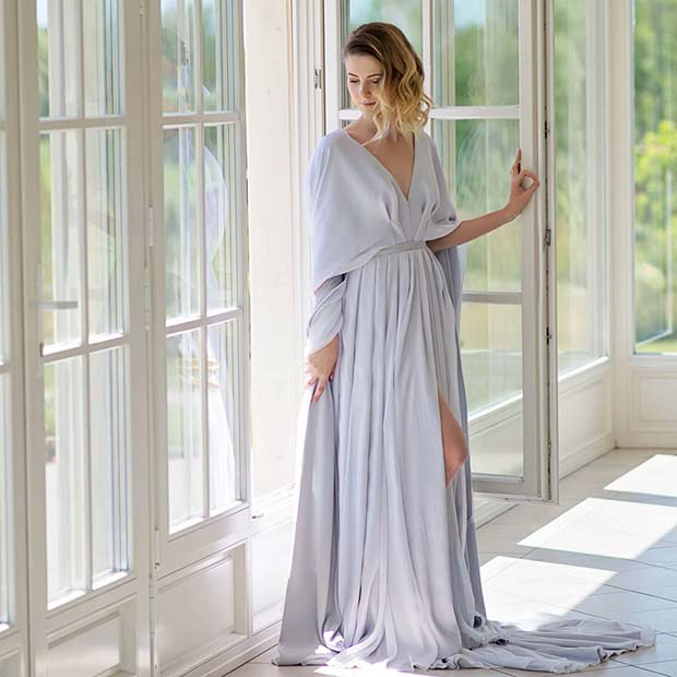 Simple, Silver Grey Wedding Dress