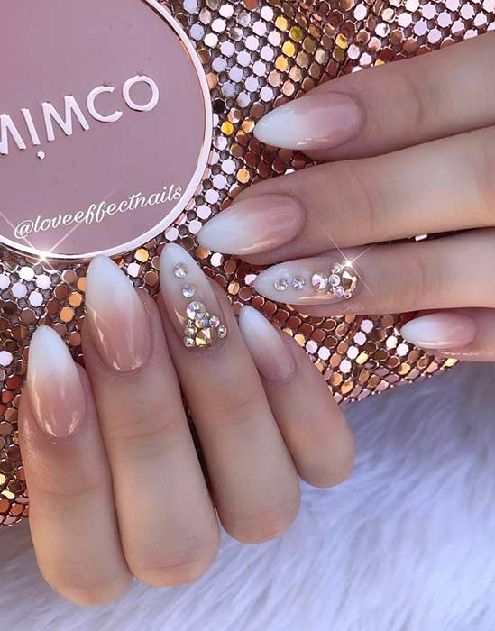 French Ombre Almond Nails