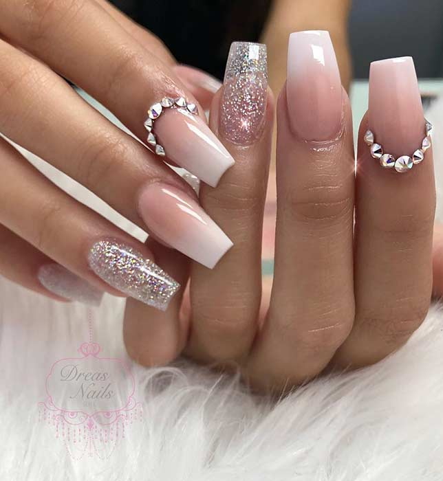 French Ombre Nails with Rhinestones and Glitter