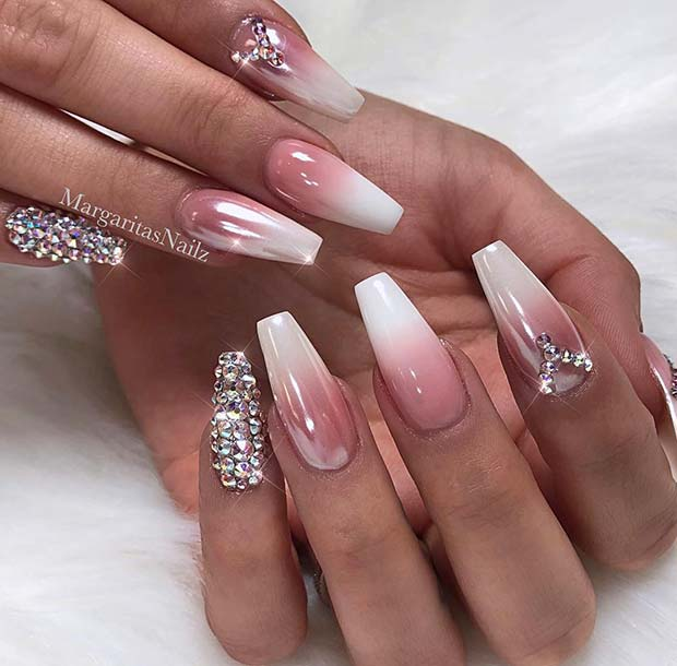 French Ombre Coffin Nails with Rhinestones