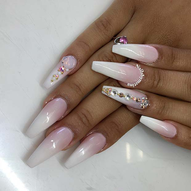 French Ombre Design with Sparkly Rhinestones