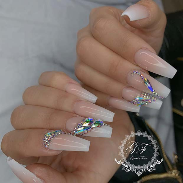French Ombre Design with Crystals