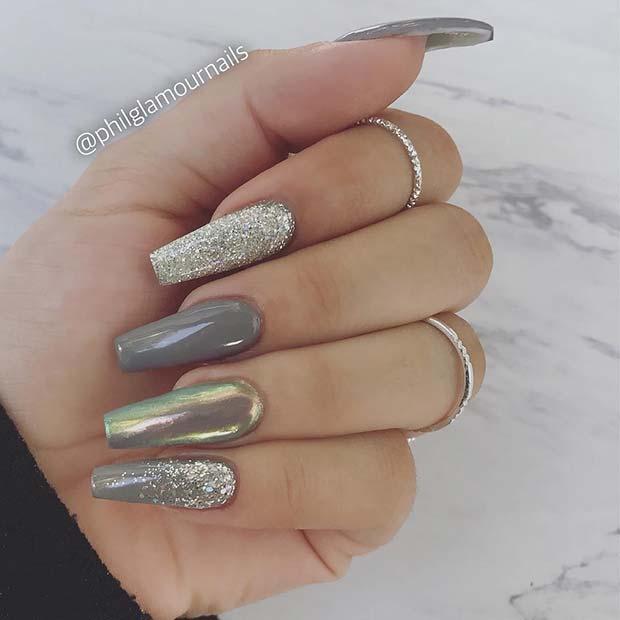 Glam Grey Nail Idea
