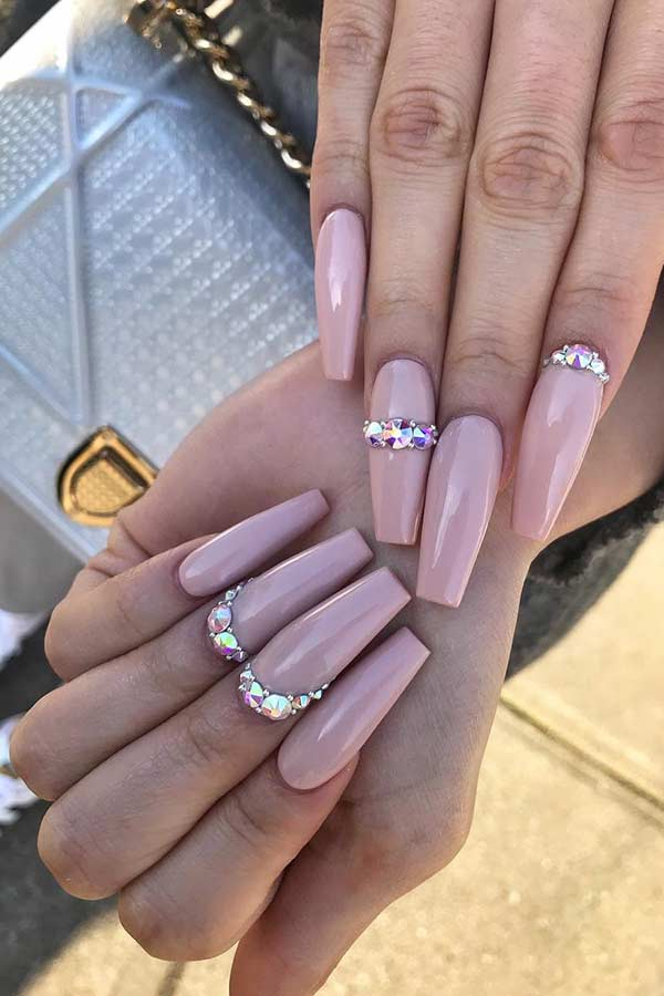 Glam Nude Nails with Rhinestones