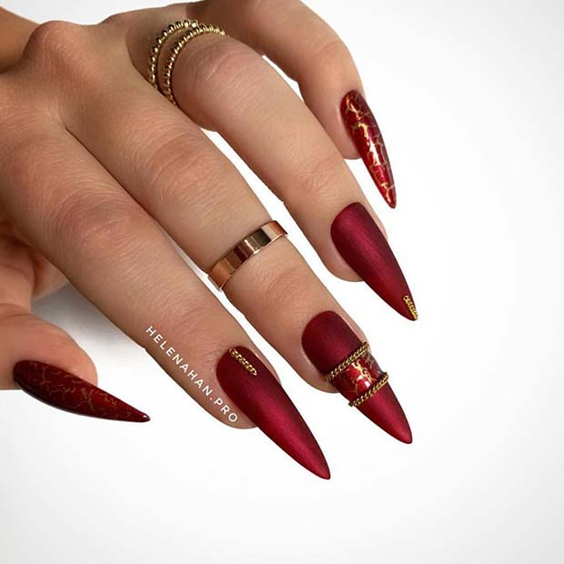 Glam Red and Gold Stiletto Nails
