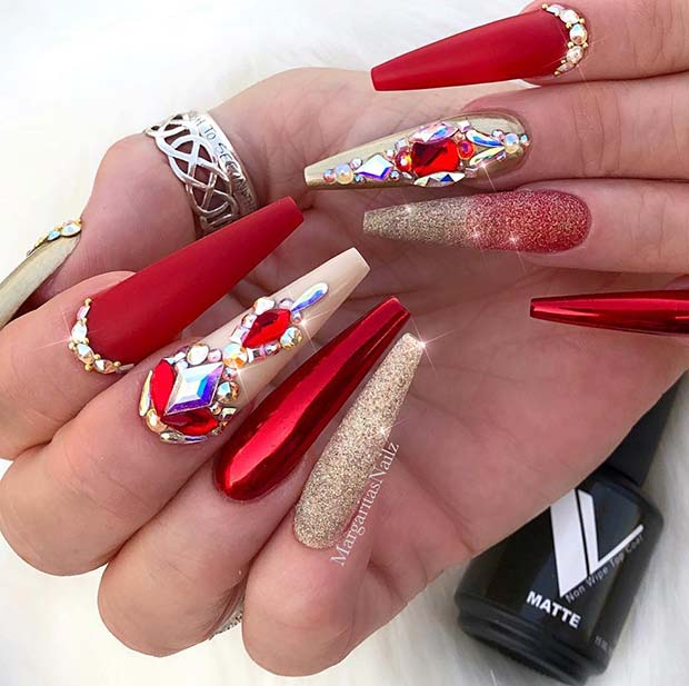 Glitzy Red Long Coffin Nails