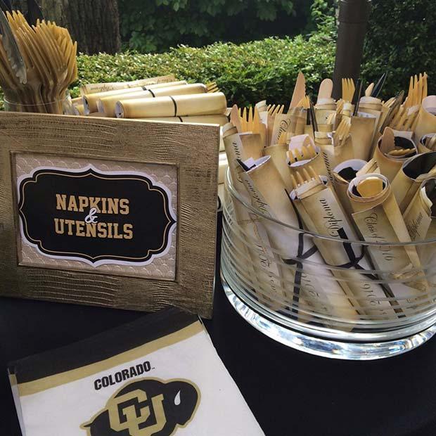 Graduation Theme Napkins and Utensils