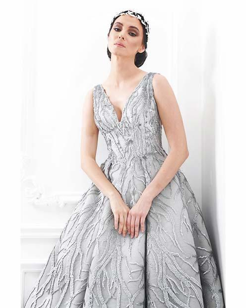 Icy Silver Wedding Dress