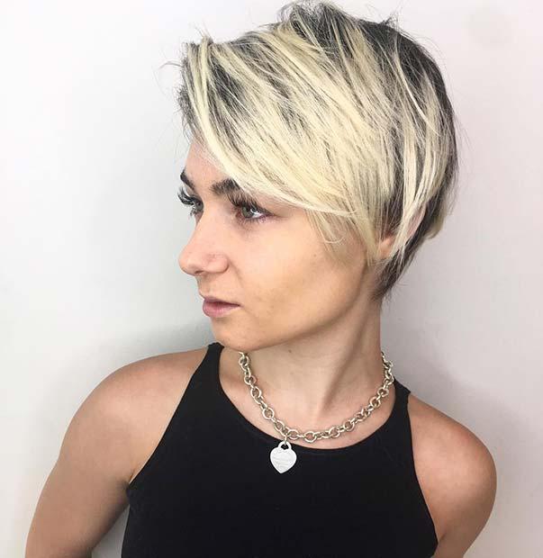 Light Blonde Long Pixie Cut