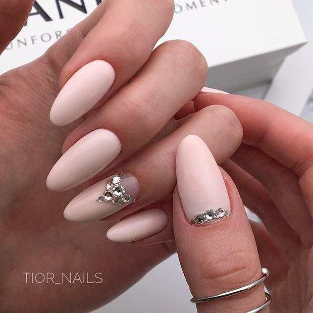 Light Nails with Rhinestones