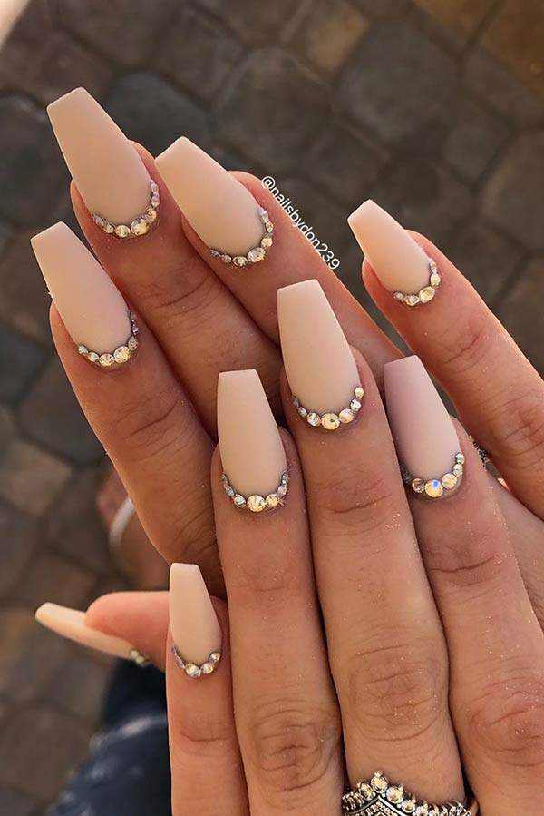 Light Nude Matte Nails with Rhinestones