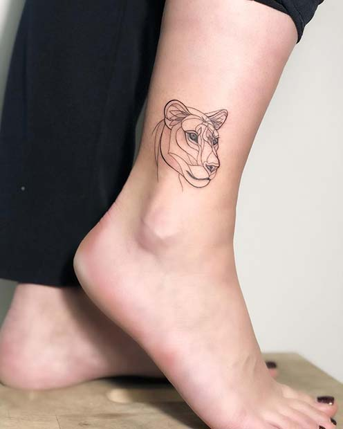 Lioness Ankle Tattoo for Women