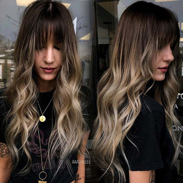 Long, Ombre Blonde Hair with Bangs