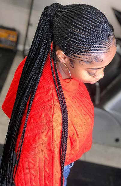 Long Braided Ponytail with Thin Braids