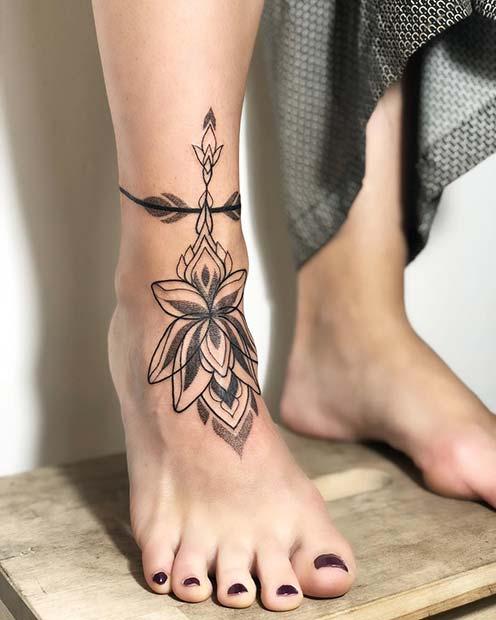 Lotus Anklet Tattoo