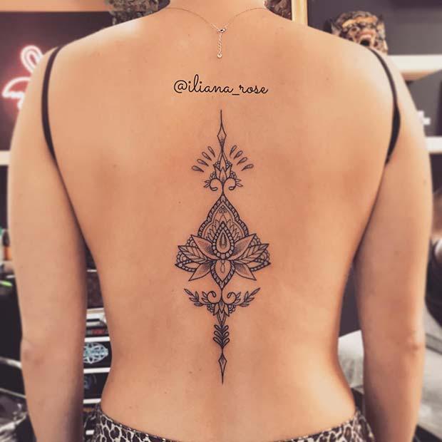 Lotus Spine Tattoo Design