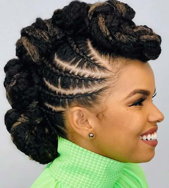 Mohawk with Side Braids and Weave