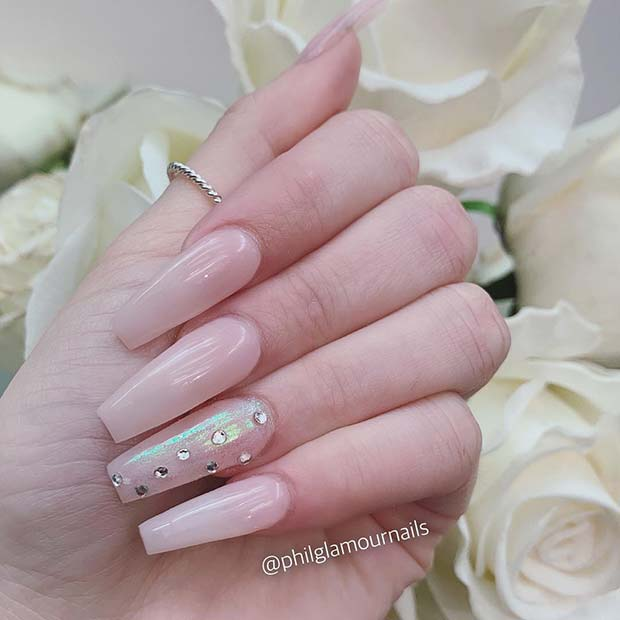Nude Nails with Rhinestones