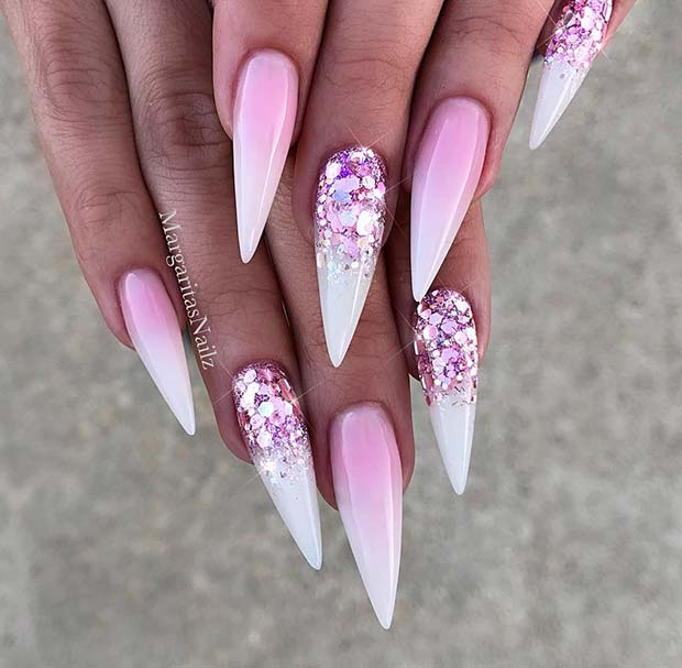 French Ombre Stiletto Nails with Sparkle