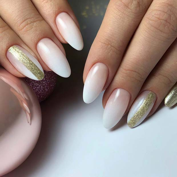 Elegant Ombre Nails with Gold Glitter Stripes