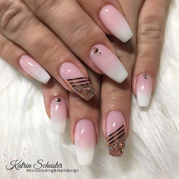 Ombre Nails with Gold Stripes and Glitter