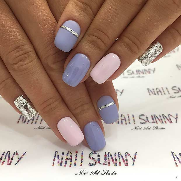 Pastel Nails with Silver Glitter