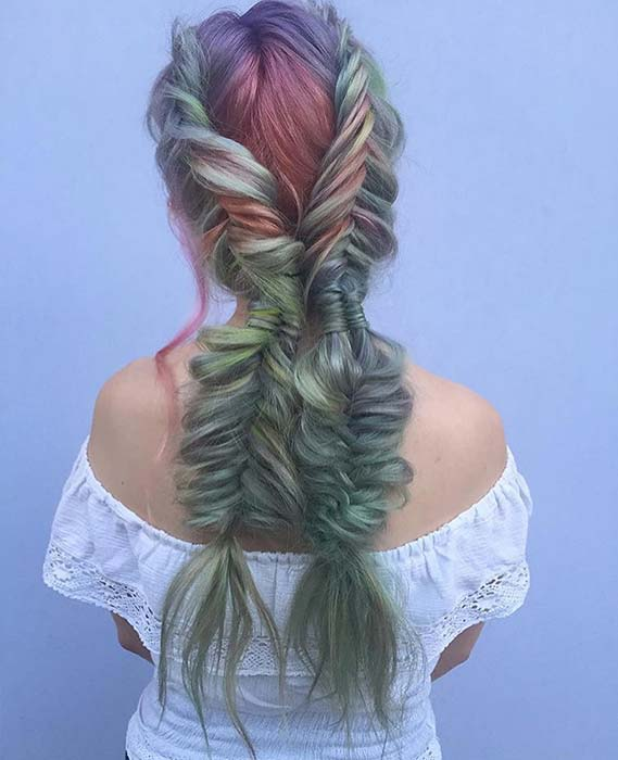 Two Big and Colorful Fishtail Braids