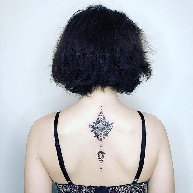 Patterned Lotus Back Tattoo Idea