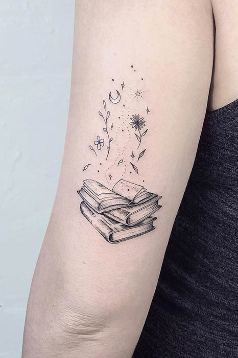 Pile of Books with Flowers Tattoo Design